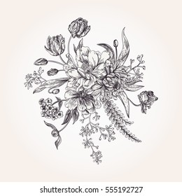 Bouquet of spring flowers in vintage style. Black and white. Design element.