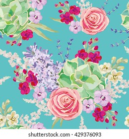 Bouquet with succulent on the turquoise background. Vector seamless pattern with lilac flowers. Rose, lilac, lavender, matthiola.