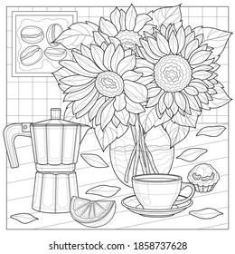 Bouquet of sunflowers with a coffee maker and a cup of coffee.Coloring book antistress for children and adults.Zen-tangle style.Black and white drawing
