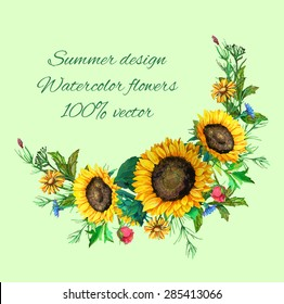 bouquet of sunflowers with decoration of leaves and branches