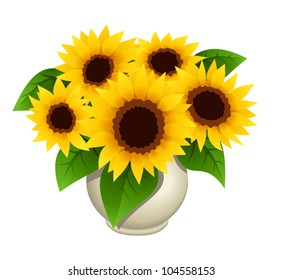 Bouquet of sunflowers in vase. Vector illustration.