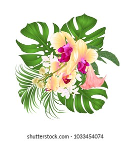 Bouquet with tropical flowers  floral arrangement, with beautiful yellow orchid, palm,philodendron and Brugmansia  vintage vector illustration  editable hand draw