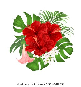 Bouquet with tropical flowers  floral arrangement, with beautiful red hibiscus, palm,philodendron and Brugmansia  vintage vector illustration  editable hand draw