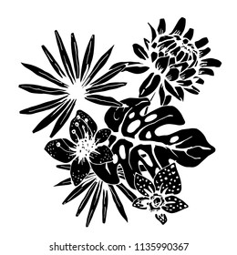Bouquet. Tropical flowers, palm leaves. Hand drawn isolated on white background