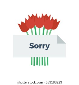 Bouquet of tulips behind a sorry note vector illustration icon
