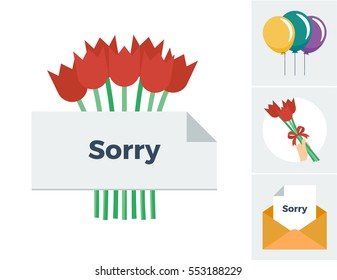 Bouquet of tulips behind a sorry note vector illustration with accompanying icons of the same theme including balloons, a hand holding tulips and a sorry note in an envelope