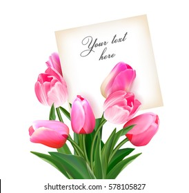 Bouquet of tulips with a card inside. Space for text. Holiday background with sheet of paper and flowers. Vector illustration. Raelistic pink tulips background. Not trace.