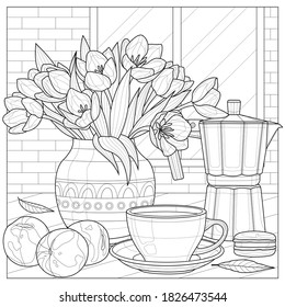 Bouquet of tulips, coffee maker, cup and peaches.Coloring book antistress for children and adults. Illustration isolated on white background.Black and white drawing.Zen-tangle style.