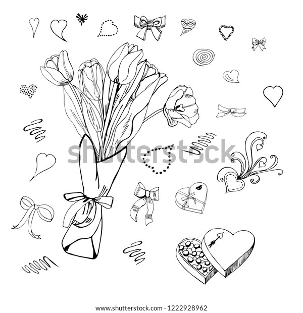 A bouquet of tulips and hearts. Set of design elemens for happy Valentine's day. Graphic doodle and sketch objects isolated on white background.