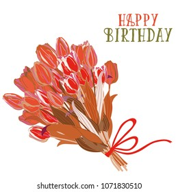 Bouquet of tulips with red ribbon and bow. Happy Birthday! Vector illustration of flowers bouquet on white background