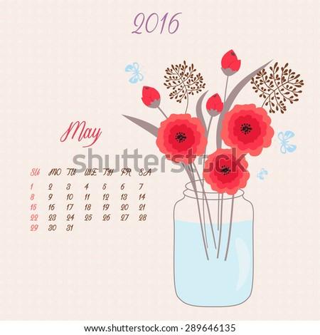 bouquet vase vector floral template calendar stock vector royalty