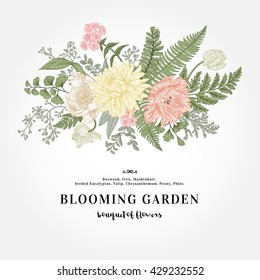 Bouquet with a vintage garden flowers and leaves. Vector botanical illustration. Chrysanthemum, tulip, peony, anemone, ferns, boxwood. Design elements. Pastel colors.