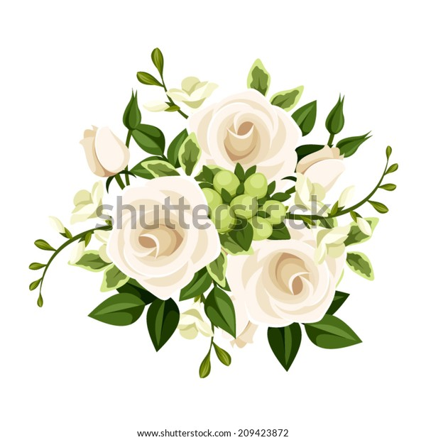Bouquet White Roses Freesia Flowers Vector Stock Vector Royalty Free 209423872