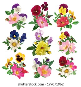 bouquet of wild roses and multicolored pansy