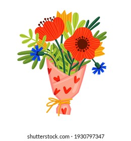 A bouquet of wildflowers. Vector doodle illustration with poppies, cornflowers, tulips in beautiful wrapping paper for a postcard, invitation, card for mother's day, Valentine's day, international wom