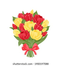 Bouquet of yellow and red tulips isolated on white background. Beautiful spring flowers with a bow. Vector festive illustration in cartoon flat style.