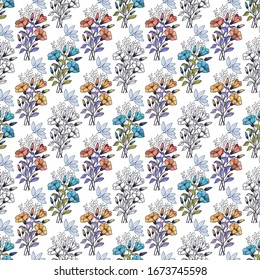 Bouquets of flowers seamless pattern. EPS10 vector illustration.