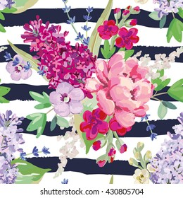 Bouquets on the striped background. Vector seamless pattern with pink and purple flowers and green leaves. Rose, lilac, lavender, matthiola. Hand drawn romantic illustration.