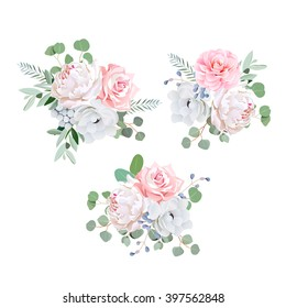 Bouquets of rose, peony, anemone, camellia, brunia flowers and eucalyptus leaves. Vector design elements.