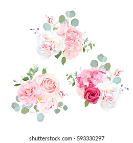 Bouquets of rose, peony, camellia, hydrangea and eucalyptus. Elegant vector floral design. Pink, white and red wedding flowers and delicate leaves. All elements are isolated and editable