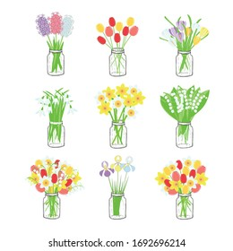 Bouquets of spring flowers in a glass jar set. Daffodils, lily of the valley, tulips, hyacinths, crocuses, snowdrops colorful flowers in monochrome ink vase object isolated art design element for web,