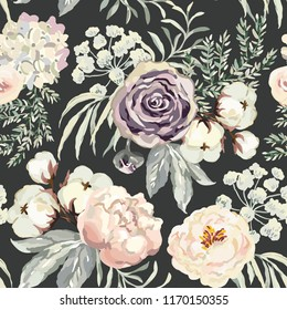 Bouquets with violet roses and blush pink peonies with gray leaves, black background. Vector seamless pattern. Romantic garden flowers. Elegant illustration