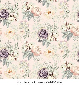 Bouquets with violet roses and pink peonies with gray leaves on the blush background. Watercolor vector seamless pattern. Romantic garden flowers. Elegant illustration.