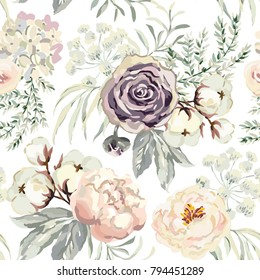 Bouquets with violet roses and pink peonies with gray leaves on the white background. Watercolor vector seamless pattern. Romantic garden flowers. Elegant illustration.
