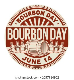 Bourbon Day, June 14, rubber stamp, vector Illustration
