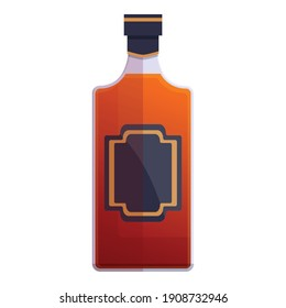 Bourbon distillery bottle icon. Cartoon of bourbon distillery bottle vector icon for web design isolated on white background