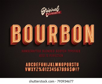 """Bourbon"" Vintage 3D Alphabet. Retro Whiskey Label Typeface. Vector Font Illustration"