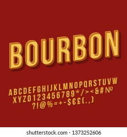 Bourbon vintage 3d vector lettering. Retro bold font. Pop art stylized text. Old school style letters, numbers, symbols pack. 90s, 80s poster, banner typography design. Dark red color background