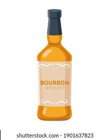 Bourbon whiskey bottle - vector illustration in flat design isolated on white background