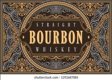 Bourbon whiskey - ornate vintage decorative label