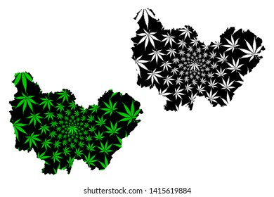 Bourgogne-Franche-Comte (France, administrative region, BFC) map is designed cannabis leaf green and black, Bourgogne-Franche-Comte map made of marijuana (marihuana,THC) foliage,