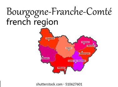 Bourgogne-Franche-Comte french region map on white in vector