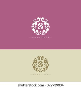 Boutique Brand,crests logo,S letter logo, Cosmetic logo, tracery, king,hotel,fashion,luxury brand logo template