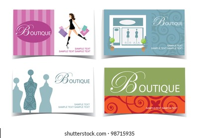 Boutique Business Card Set EPS 8 vector, grouped for easy editing. No open shapes or paths.