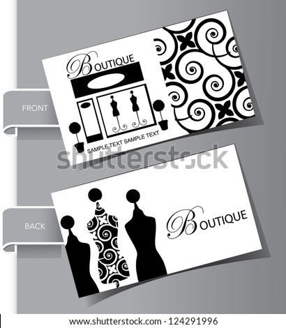 boutique business card set front and back - Boutique Business Cards
