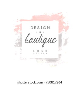 Boutique design logo, badge for fashion clothes shop, beauty salon or cosmetician watercolor vector Illustration on a white background