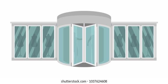 Boutique door banner. Flat illustration of boutique door vector banner for web
