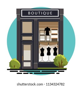 Boutique facade. Illustration of a fashion boutique in a flat style. Beautiful fashion boutique with clothes in the shop window. Vector illustration