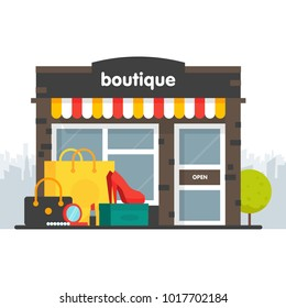 Boutique facade. Illustration of a boutique in a flat style. Box and shopping bag clothing, shoes, heels, cosmetics. Vector illustration