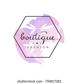 Boutique fashion logo, badge for clothes shop, beauty salon or cosmetician watercolor vector Illustration on a white background