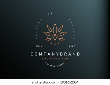 Boutique floral logo design. Vector illustration of luxury floral leaves line. Modern vintage icon design template with line art style.