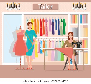 Boutique indoor of woman's cloths fashion, tailor shop, Clothing store, interior building vector illustration.