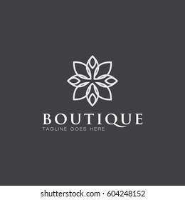boutique logo icon vector template with flower