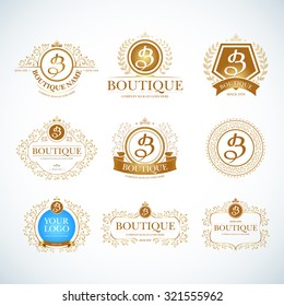 Boutique Luxury Vintage, Crests logo templates set. Business sign, identity for Restaurant, Royalty, Boutique, Hotel, Heraldic, Jewelery, Fashion ,Real estate,Resort logotypes. Vector illustration.