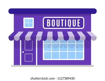 Boutique shop icon, symbol, store. The facade of the building with awning in cartoon or flat style. Sign of the house is purple color. Stylish image. Vector illustration isolated on white background.