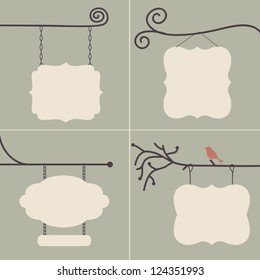 Boutique Sign Collection: Use this sign collection together or individually, with or without the background. Ready for your text. Fully editable vector illustration